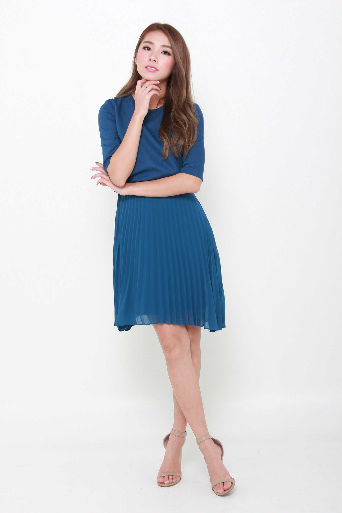 Zoey Crop Pleat Dress in Blue