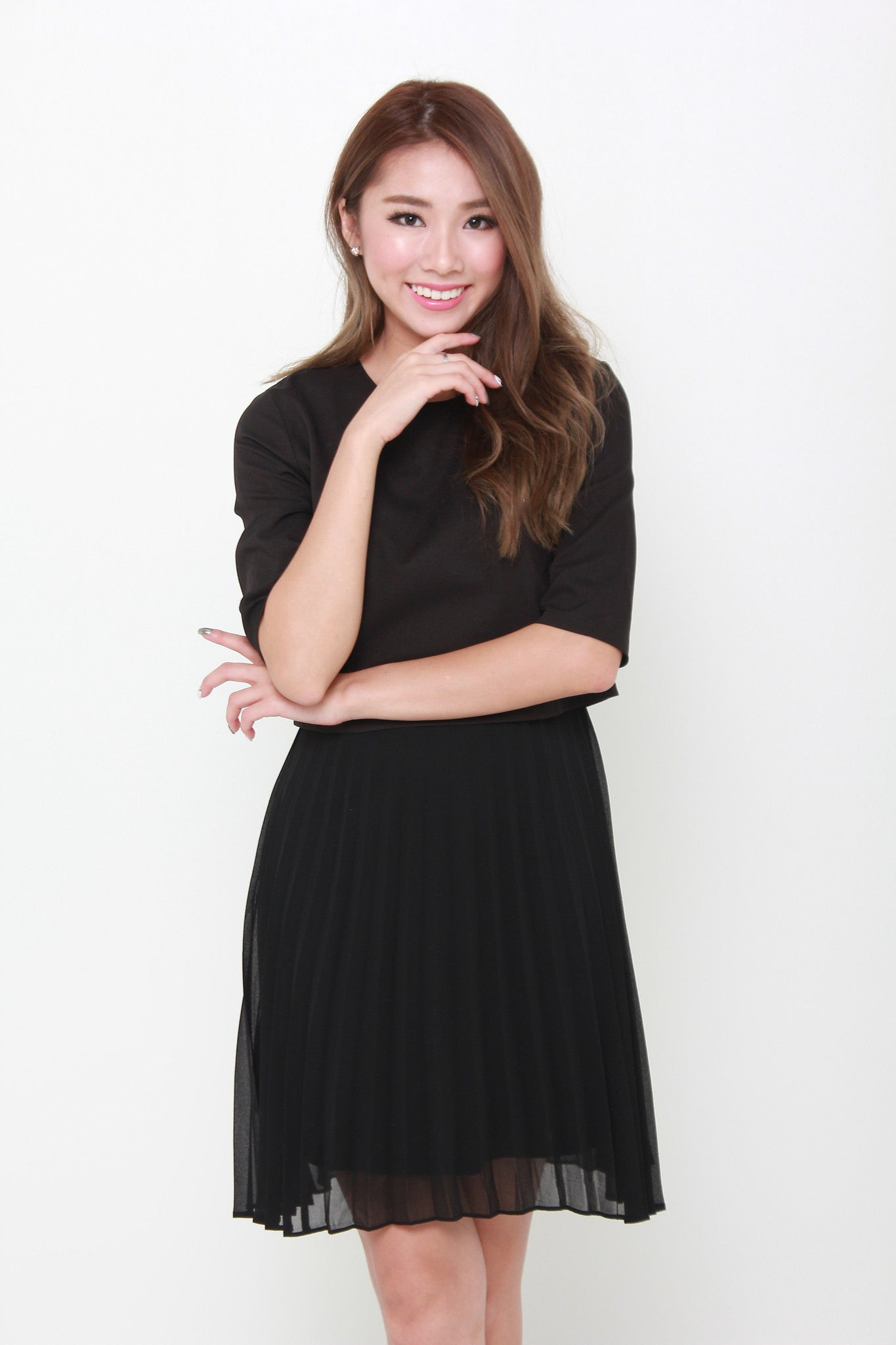 Zoey Crop Pleat Dress in Black