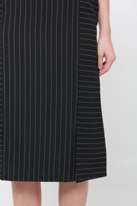 Suzy Pin Stripe Cross Back Dress in Black