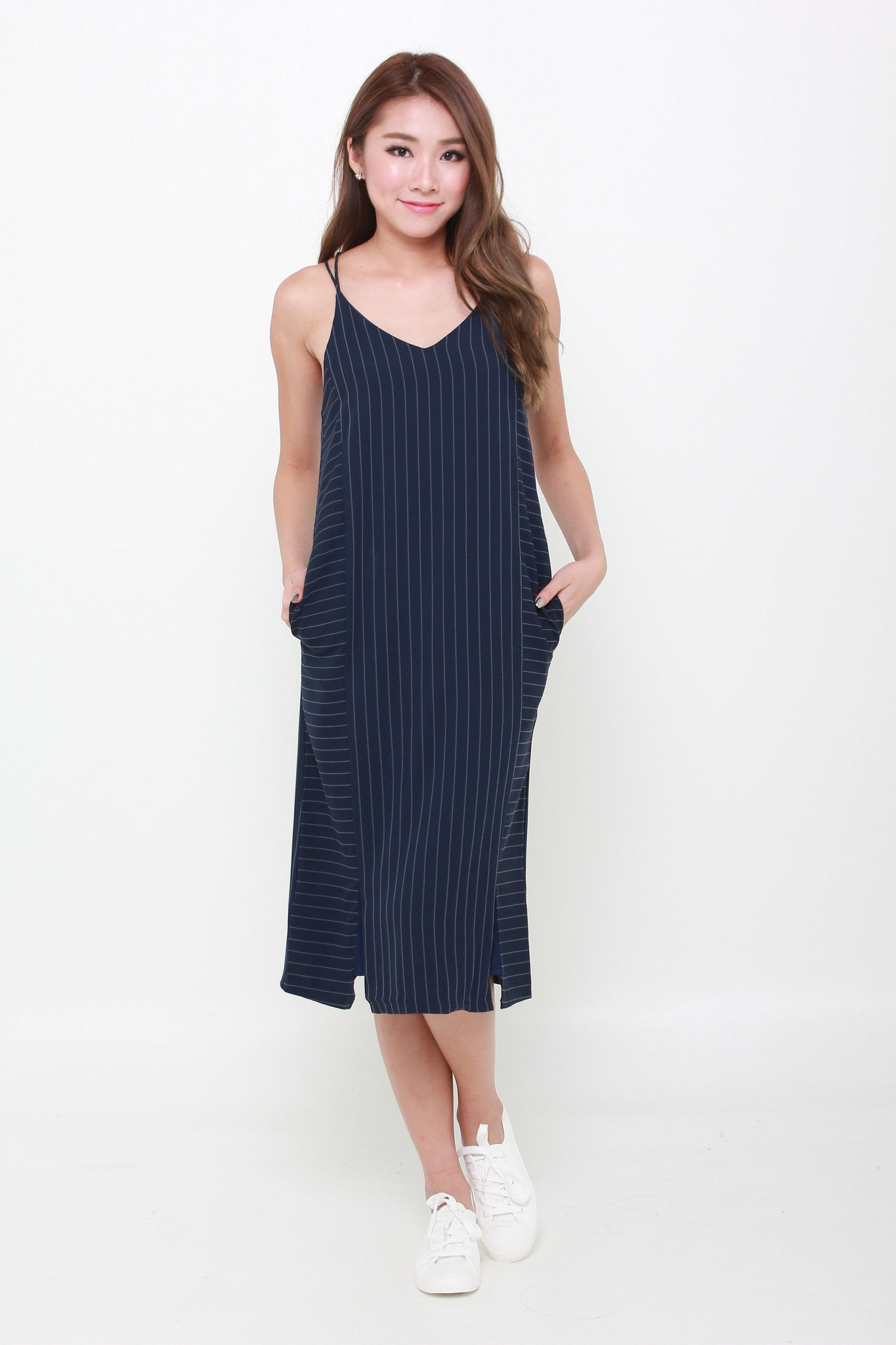 Suzy Pin Stripe Cross Back Dress in Blue