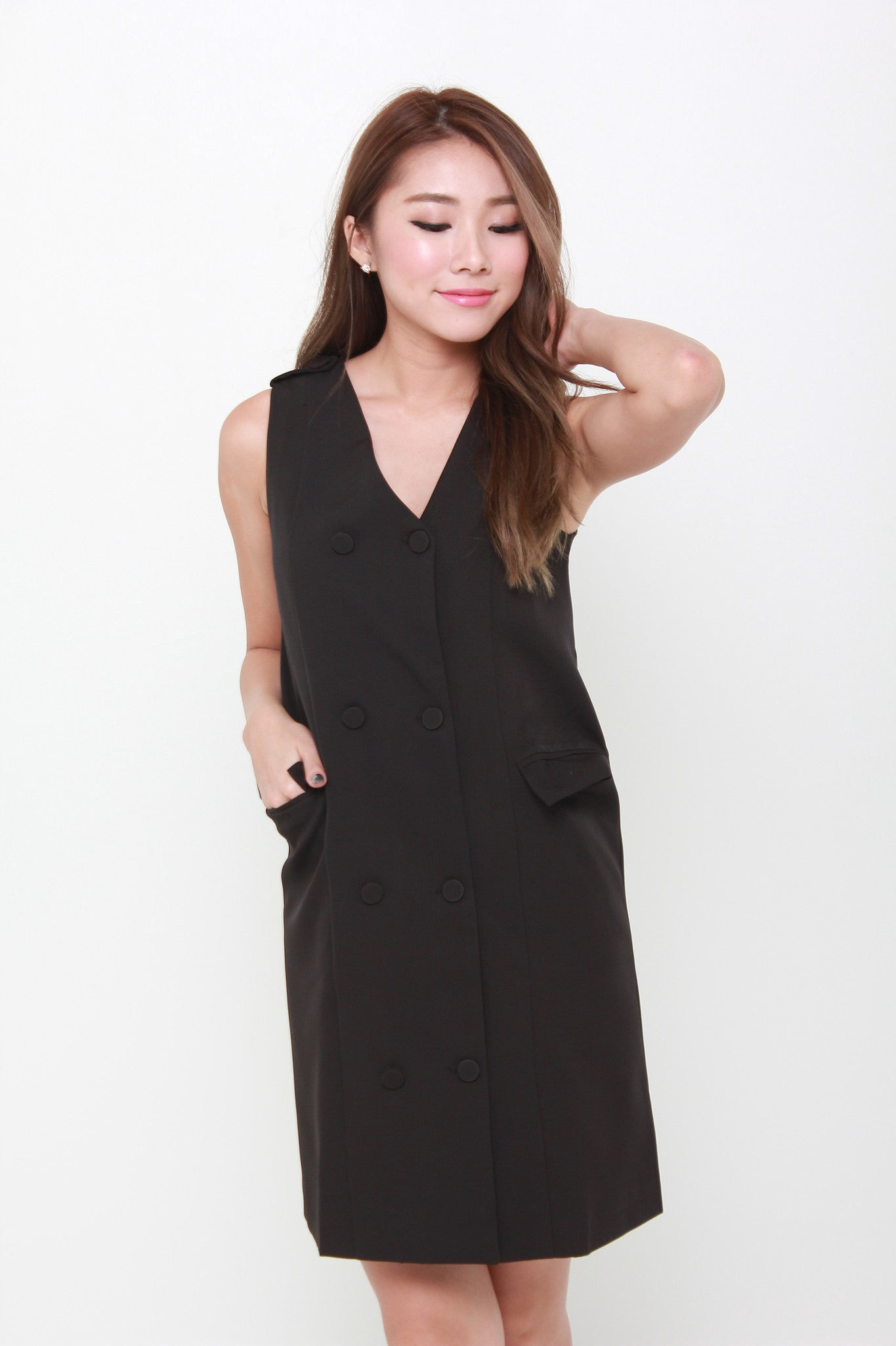Gigi Button Trench Dress in Black