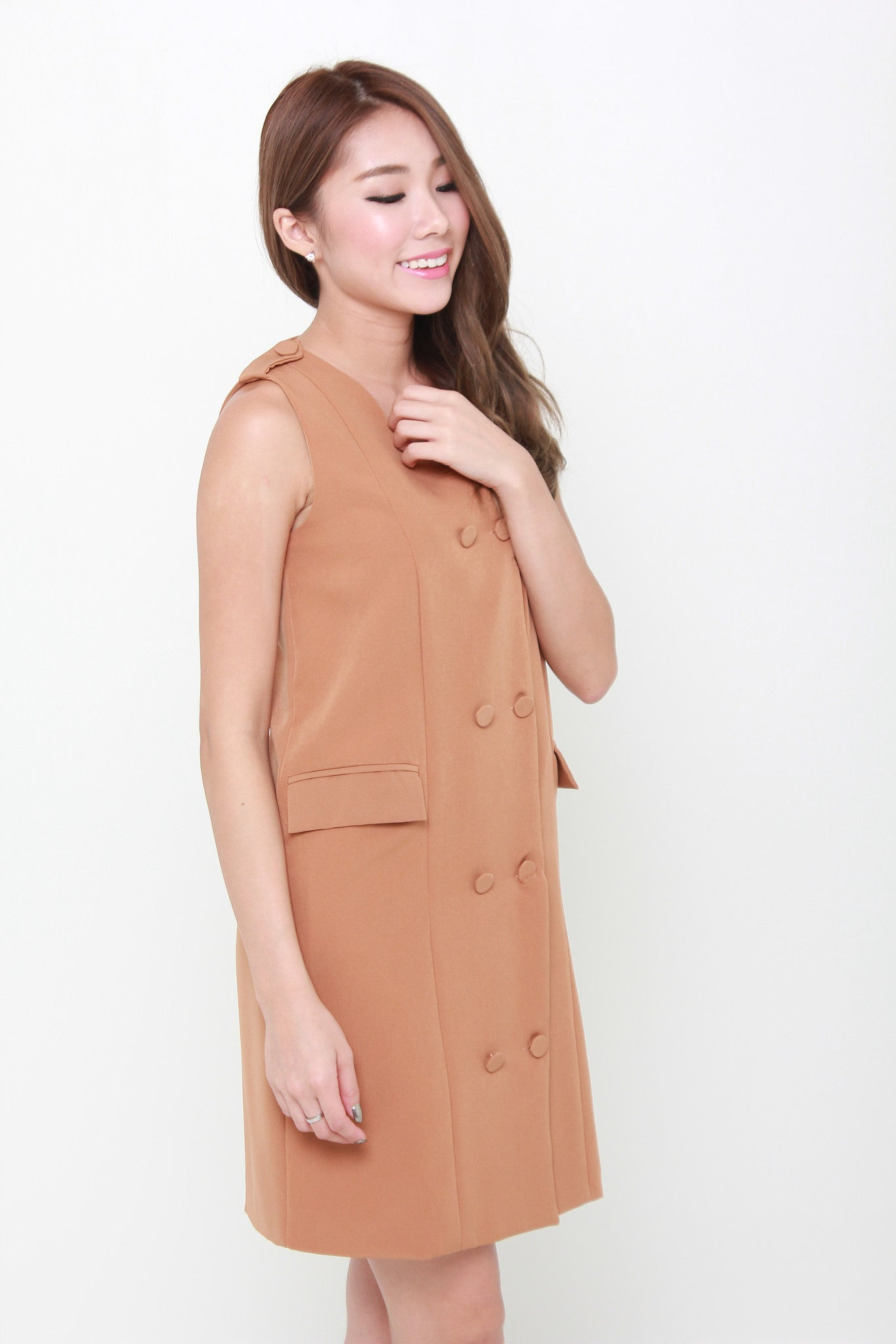 Gigi Button Trench Dress in Camel