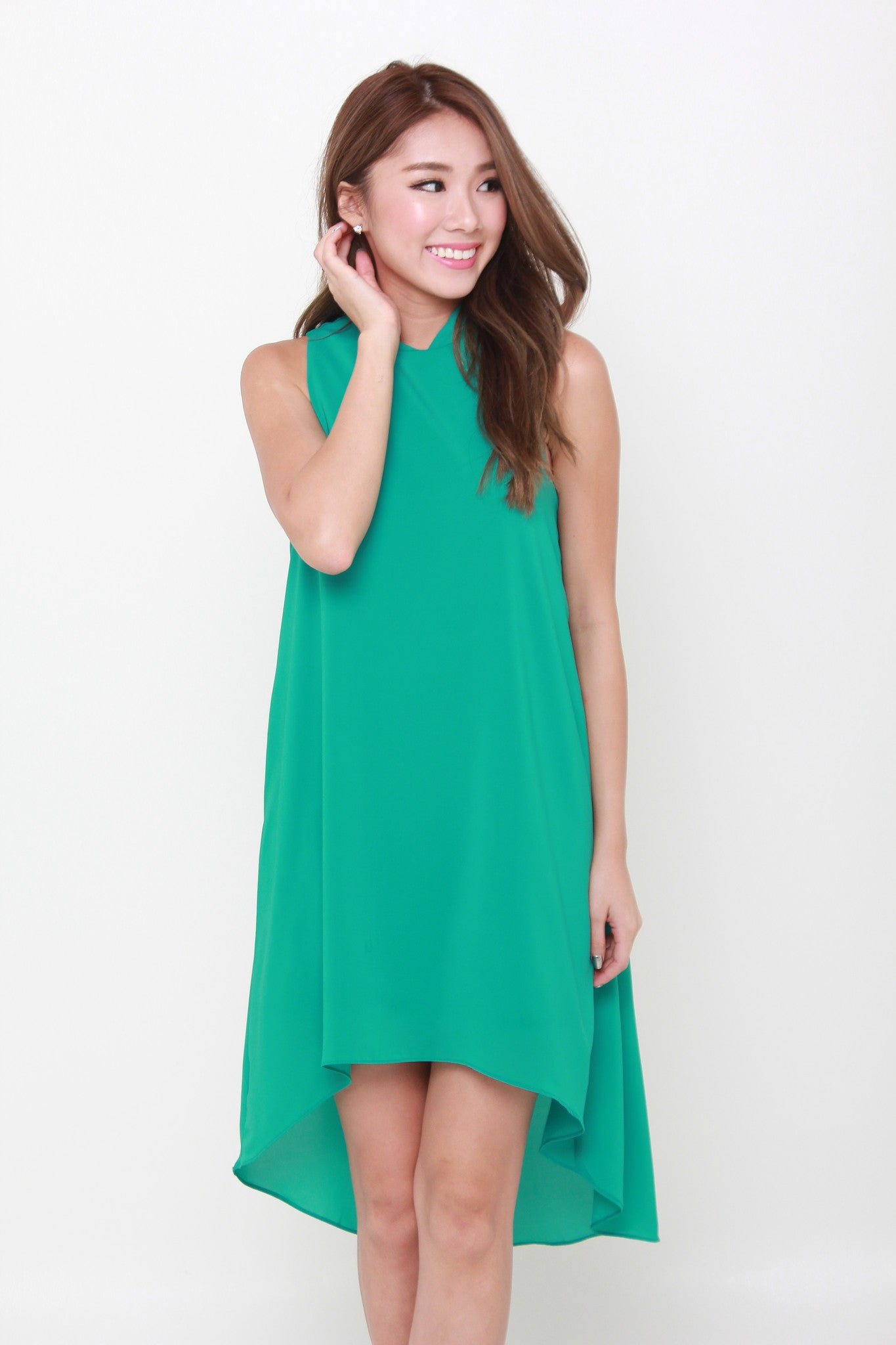 Klara V Back Dip Hem Trapeze Dress in Green