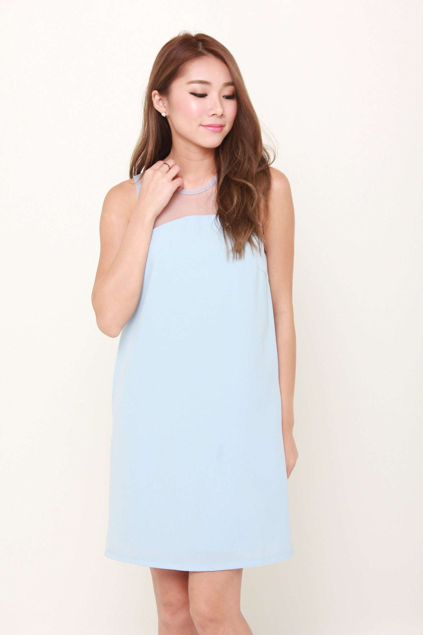 Amie Mesh Insert Shift Dress in Blue