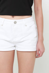 Tae Embroidery Shorts in Denim White