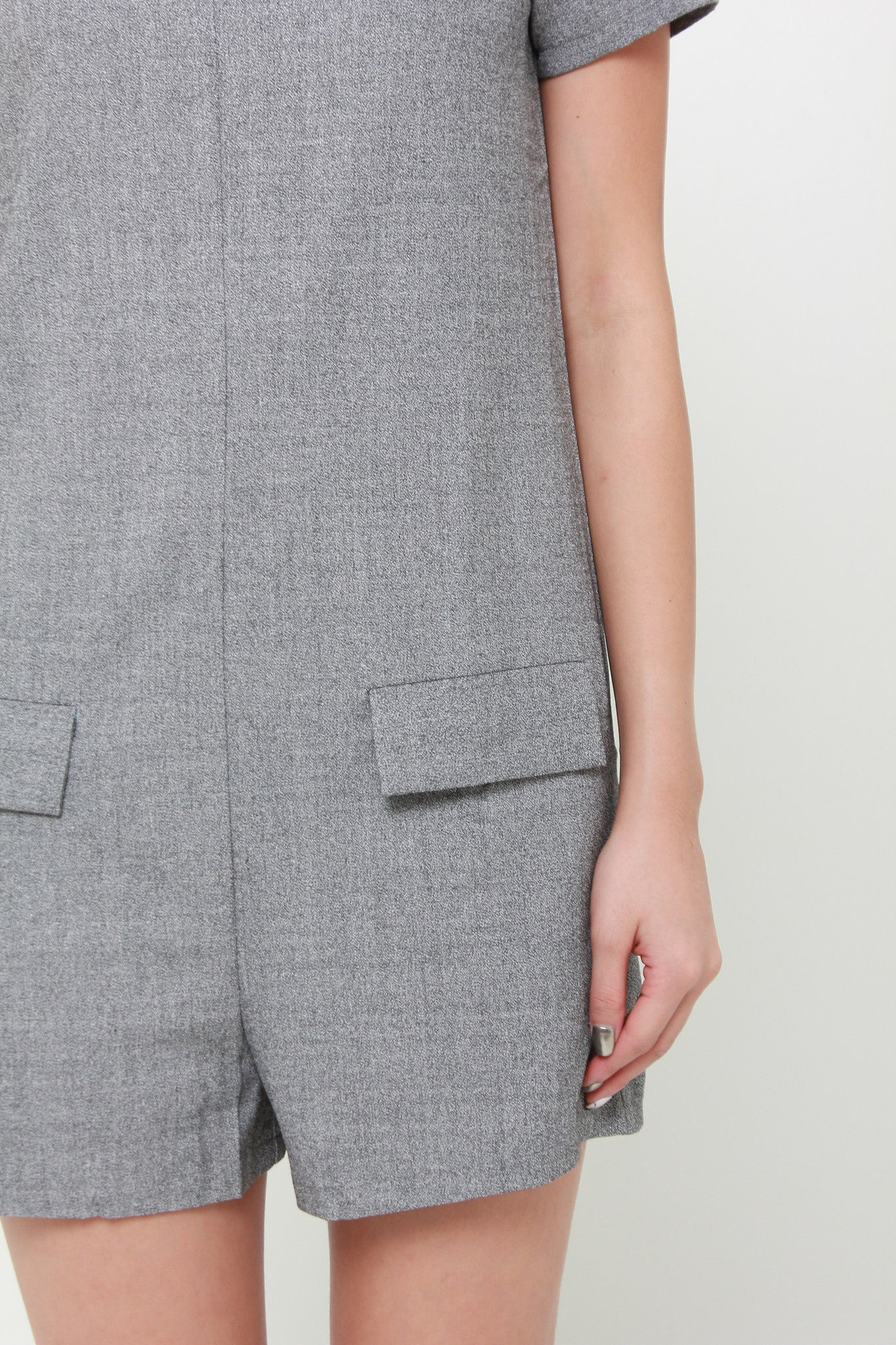 Mel Emboss Pocket Romper in Grey