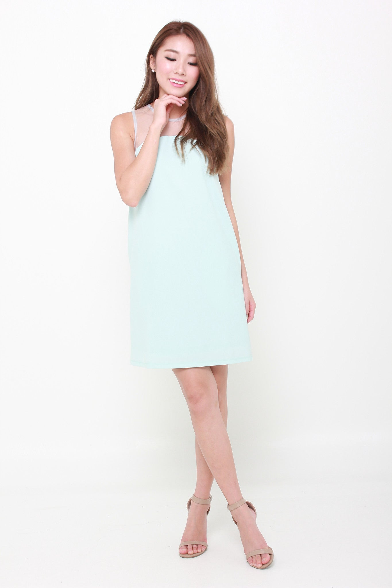 Amie Mesh Insert Shift Dress in Mint