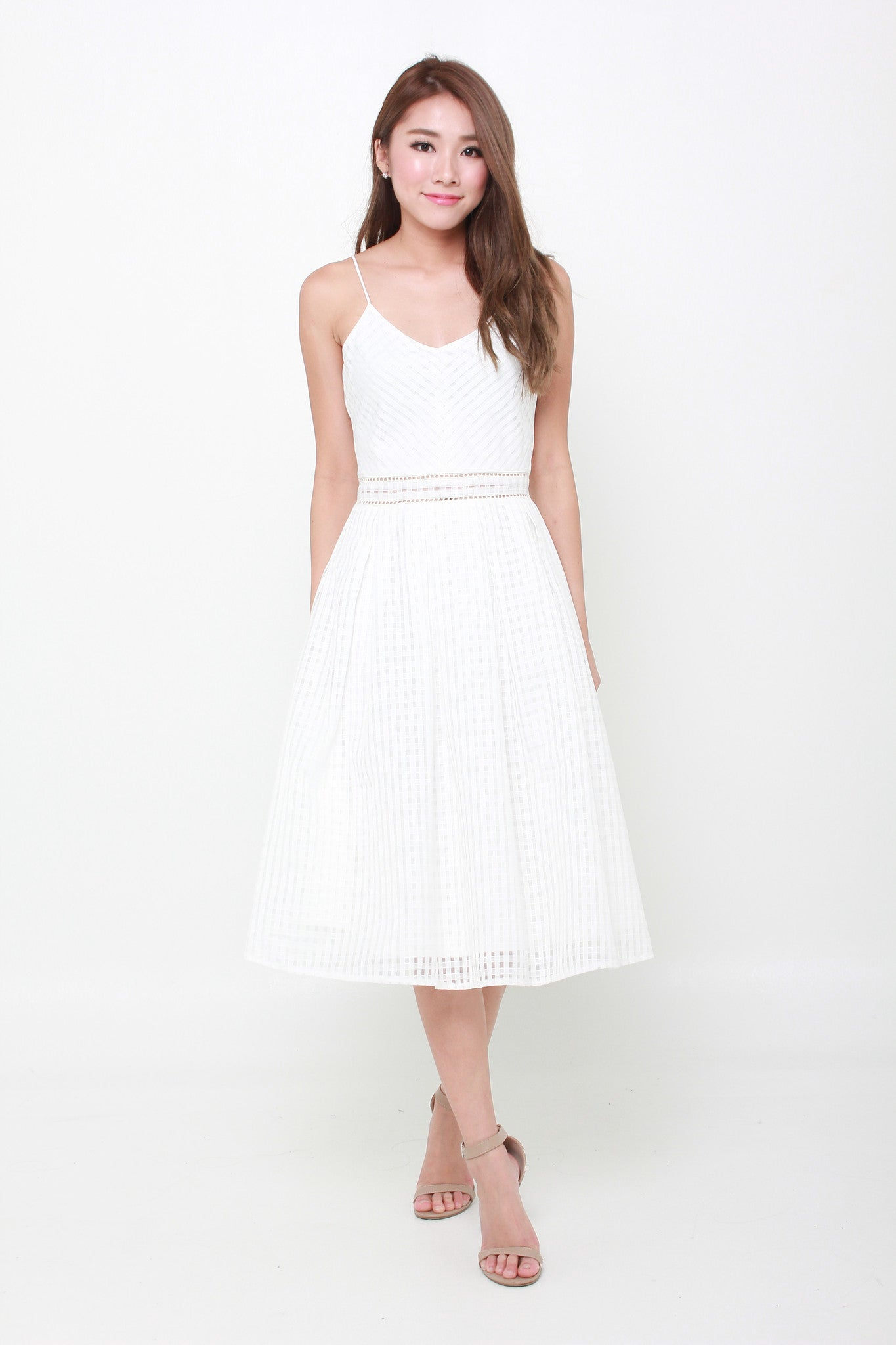 Alexa Grid Organza Spaghetti Skater Dress in White