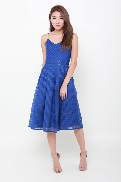Alexa Grid Organza Spaghetti Skater Dress in Cobalt Blue