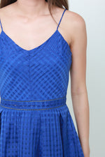 Load image into Gallery viewer, Alexa Grid Organza Spaghetti Skater Dress in Cobalt Blue