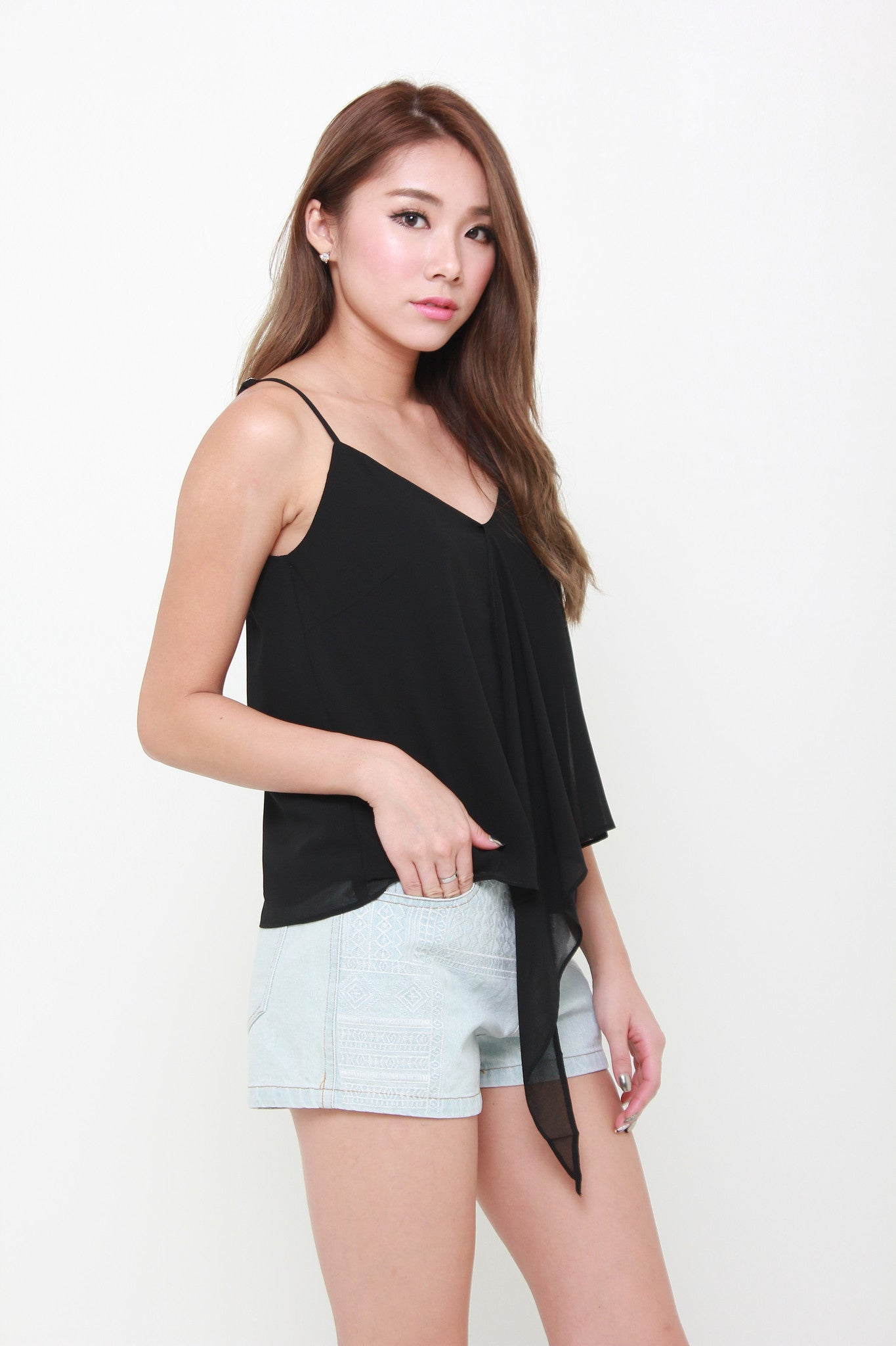 Kat Waterfall Spaghetti Top in Black