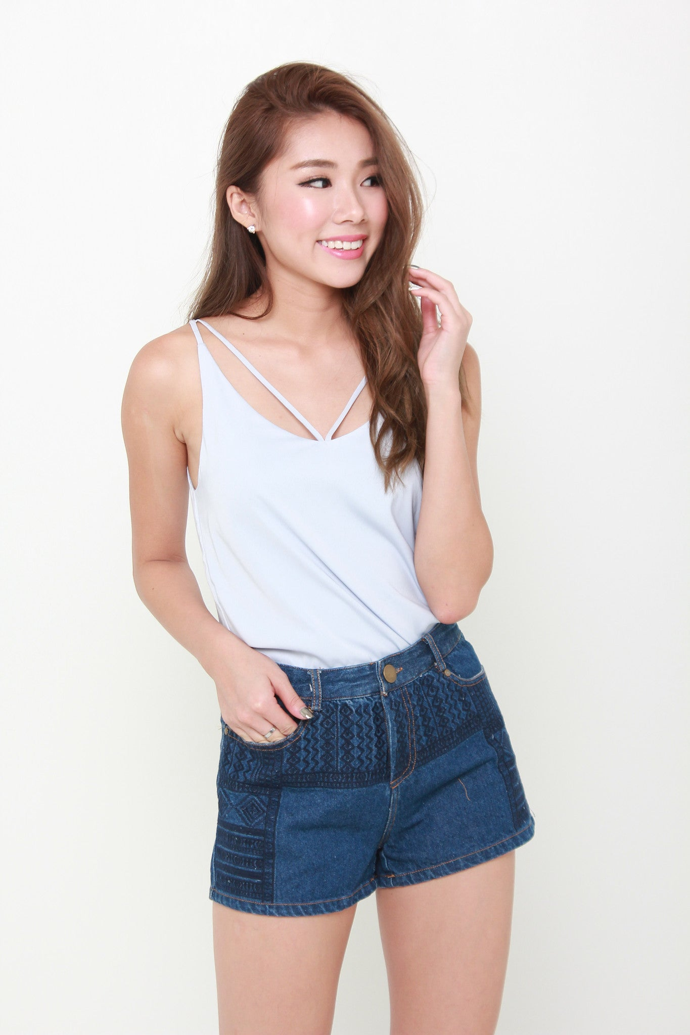 Carin T-Back Top in Blue