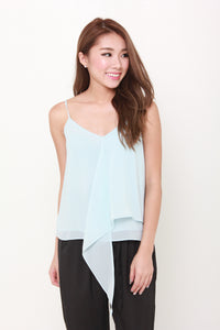 Kat Waterfall Spaghetti Top in Blue
