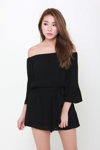 Penelope Flutter Off Shoulders Romper in Black