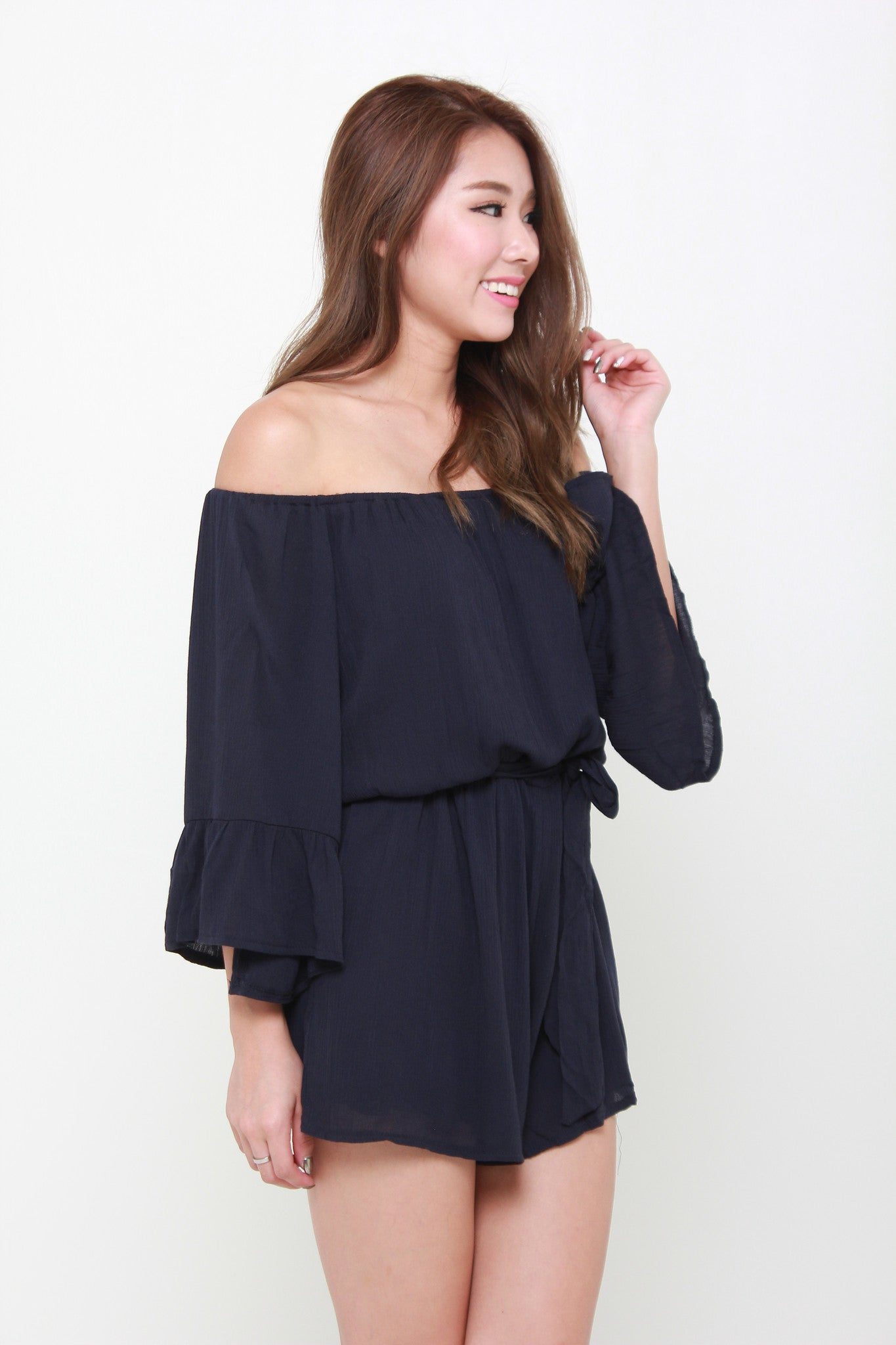 Penelope Flutter Off Shoulders Romper in Blue