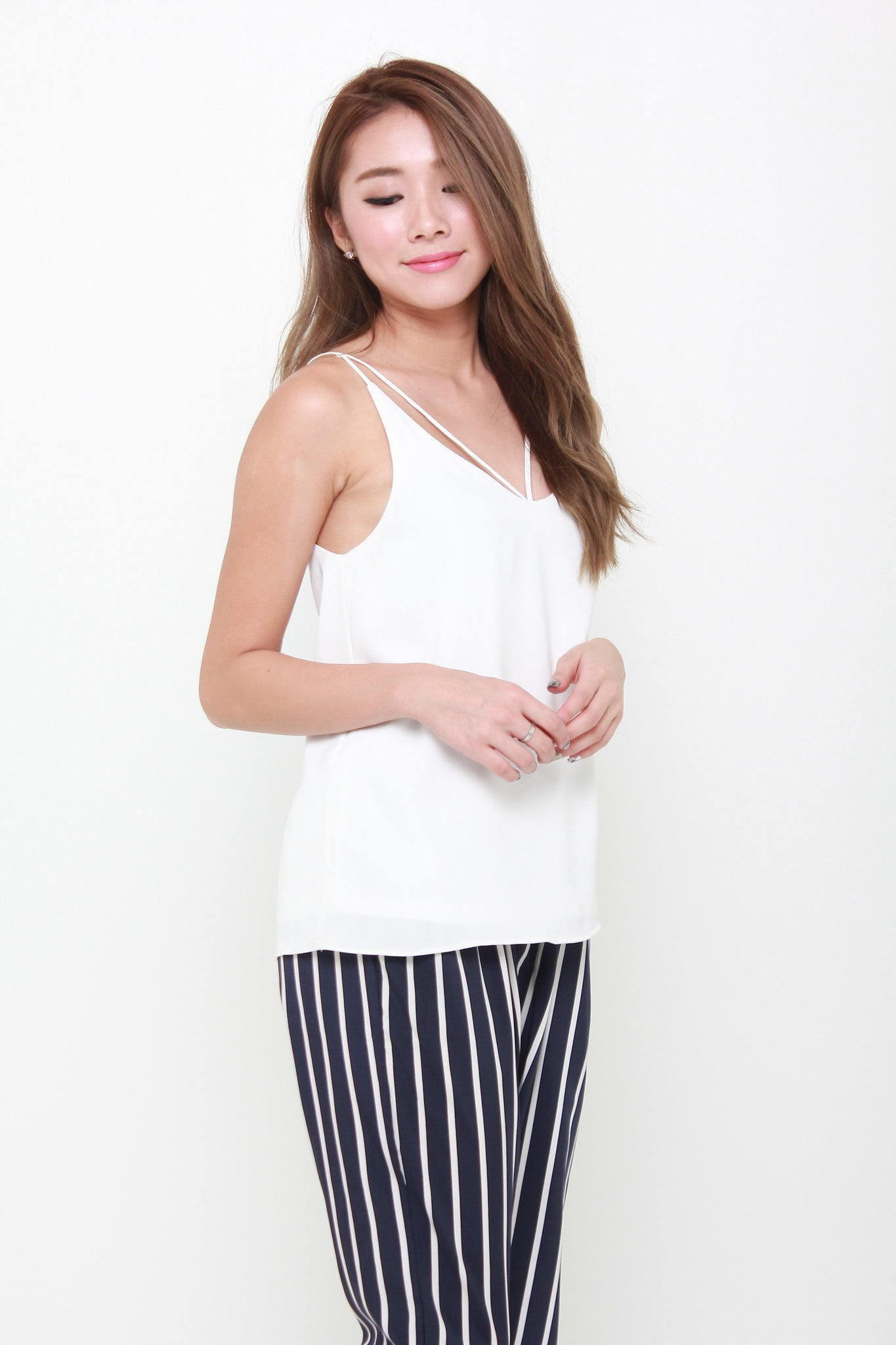 Carin T-Back Top in White
