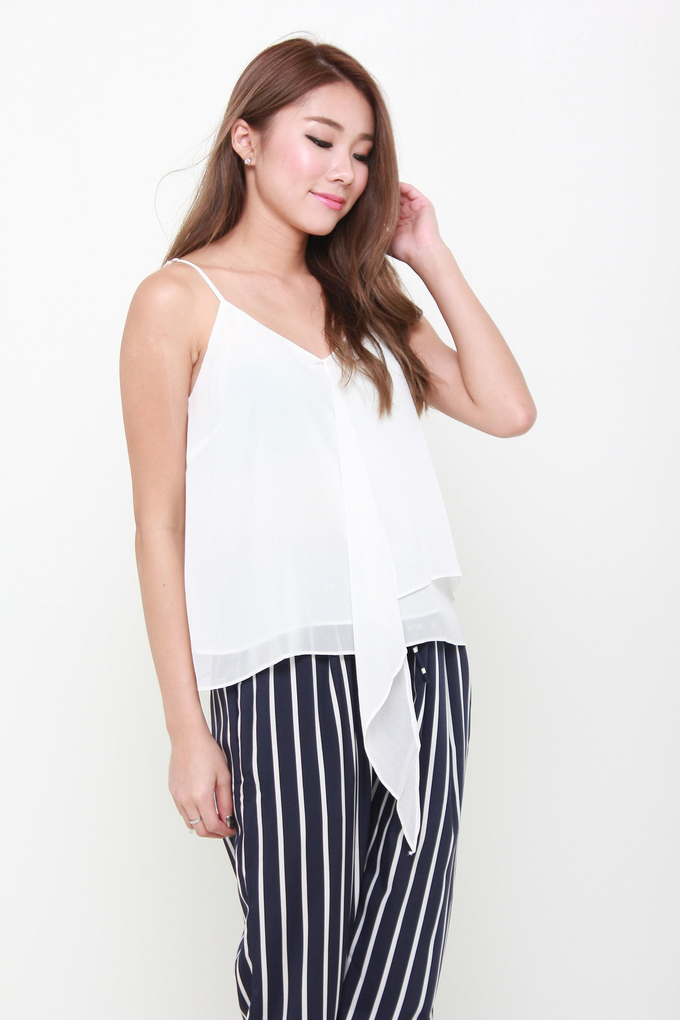 Kat Waterfall Spaghetti Top in White