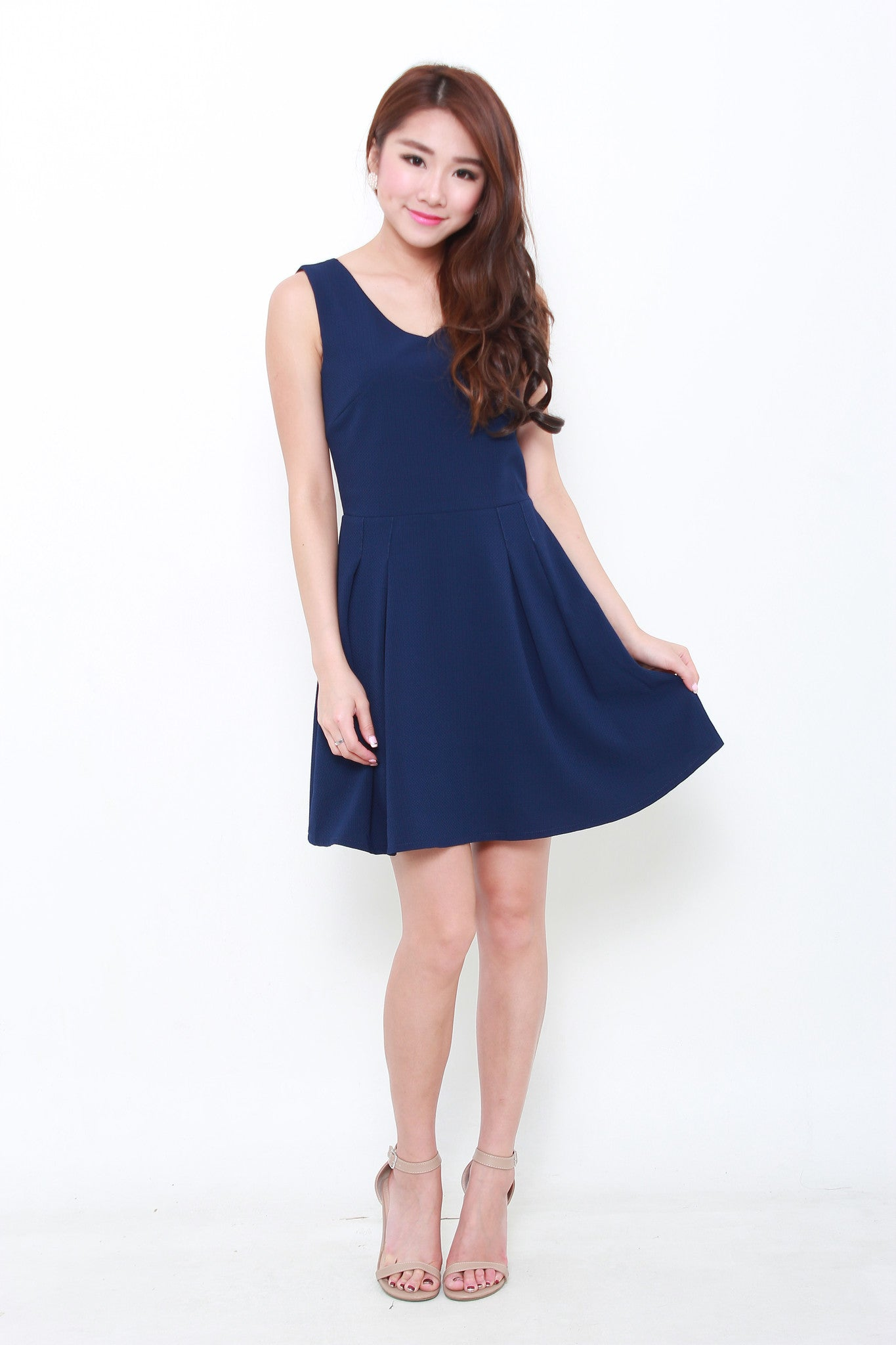 Milena Textured Back Cut Out Dress in Blue
