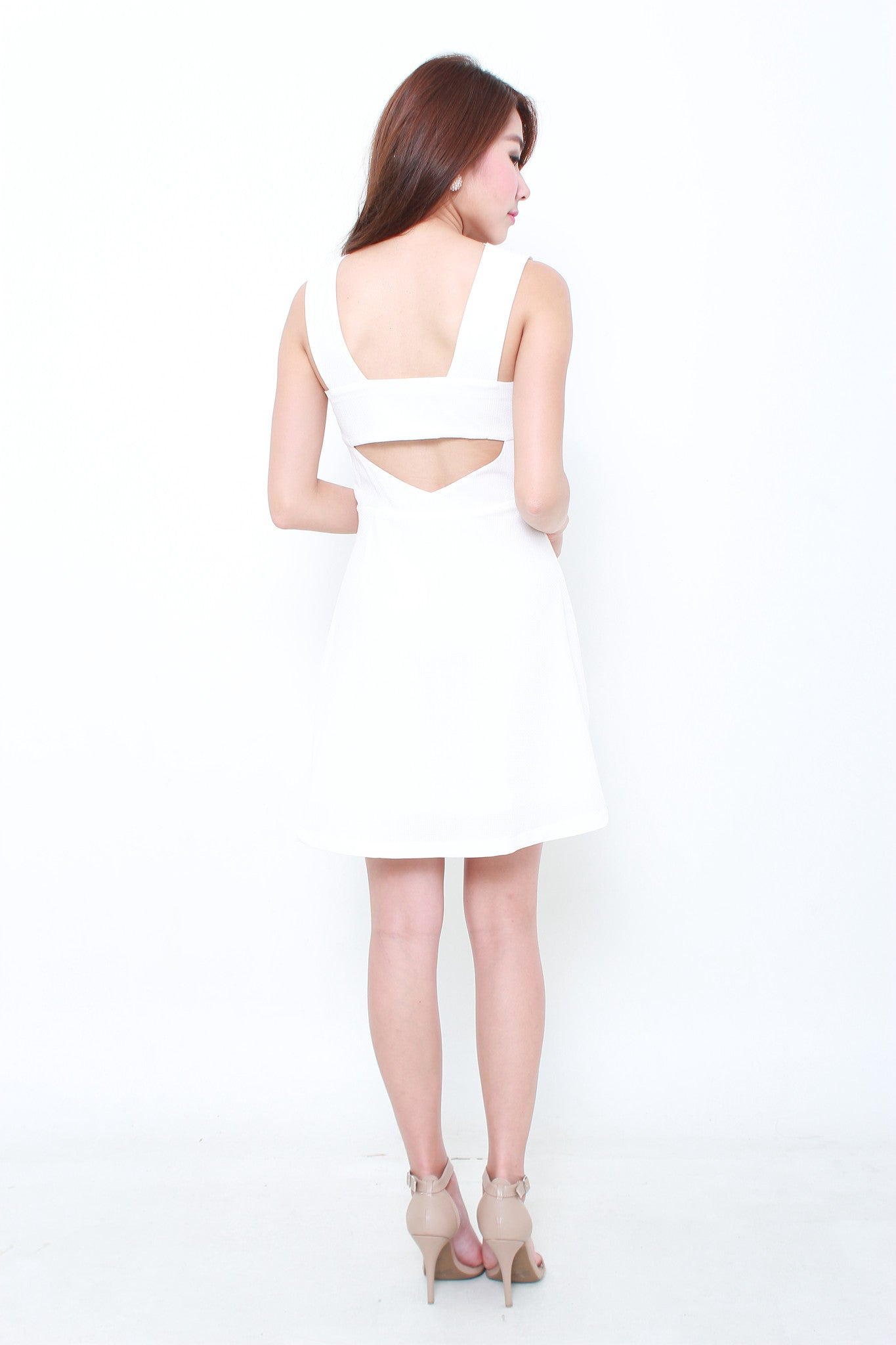 Milena Textured Back Cut Out Dress in White