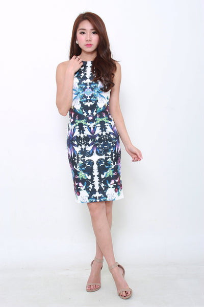 Paris Symmetrical Floral Midi Dress
