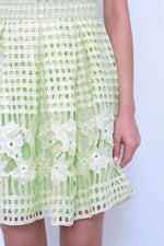 Load image into Gallery viewer, Bonnie Floral Crochet Skater Dress in Mint