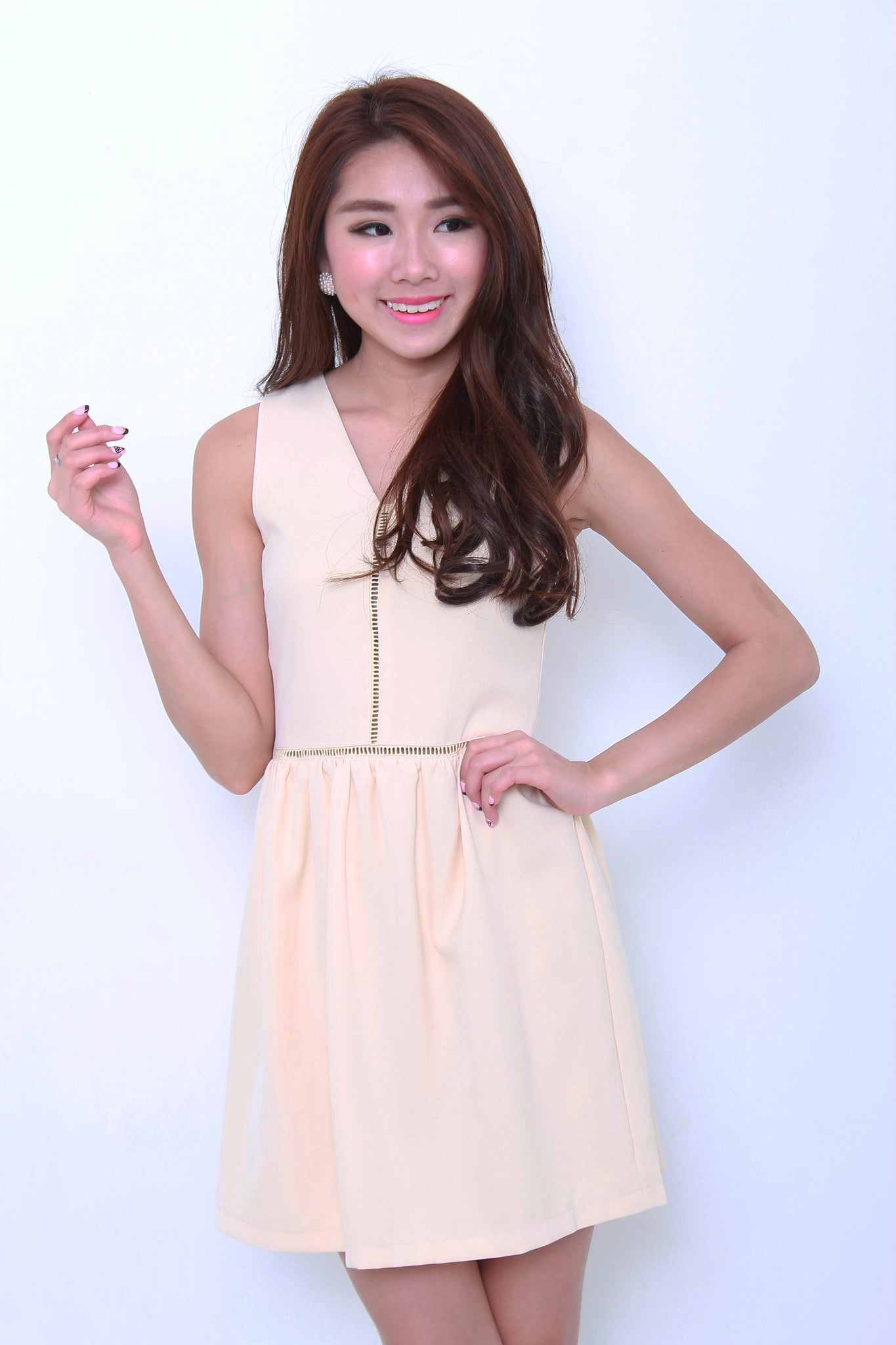 Estee Lattice Insert Dress in Cream