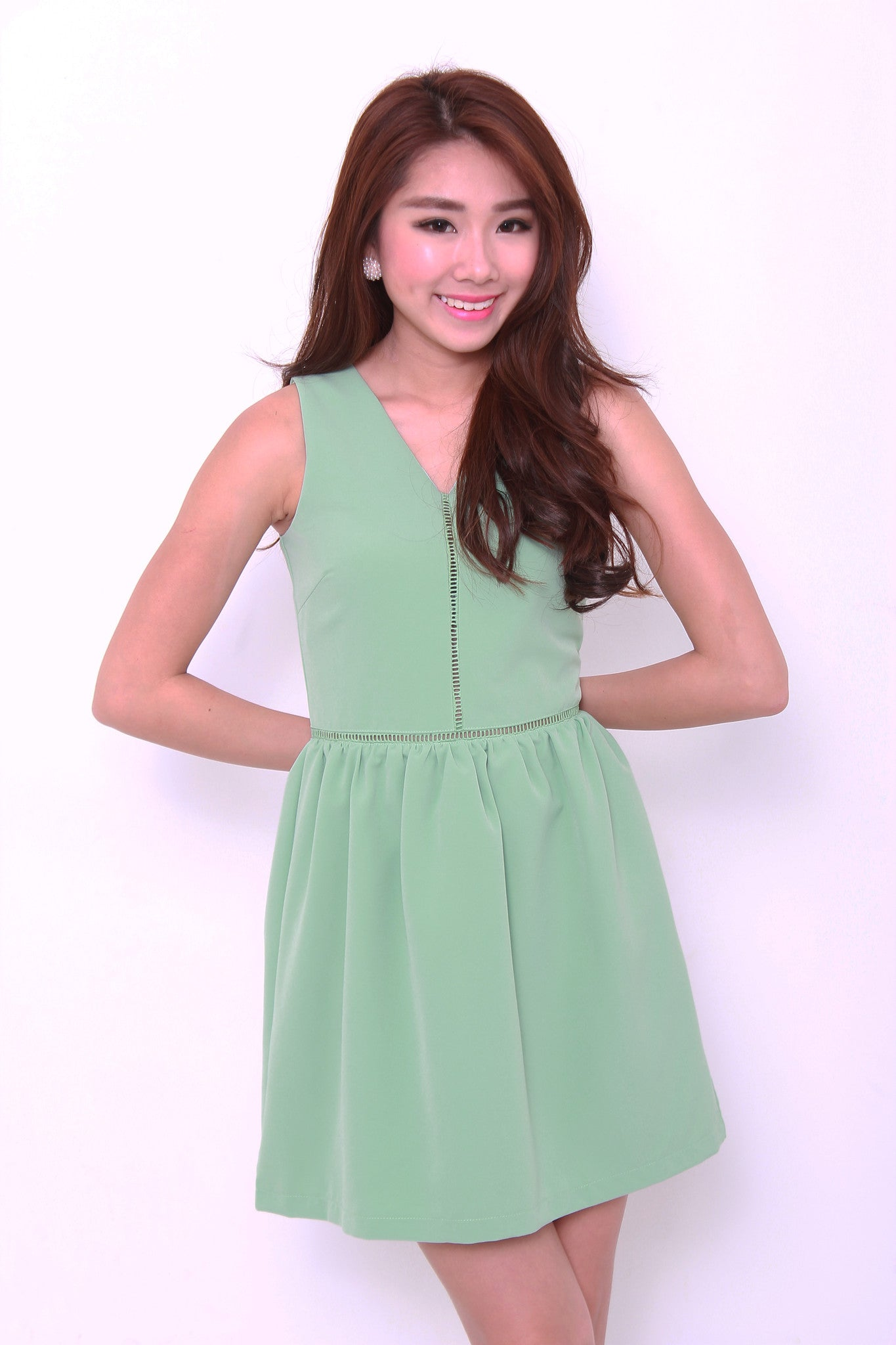 Estee Lattice Insert Dress in Green