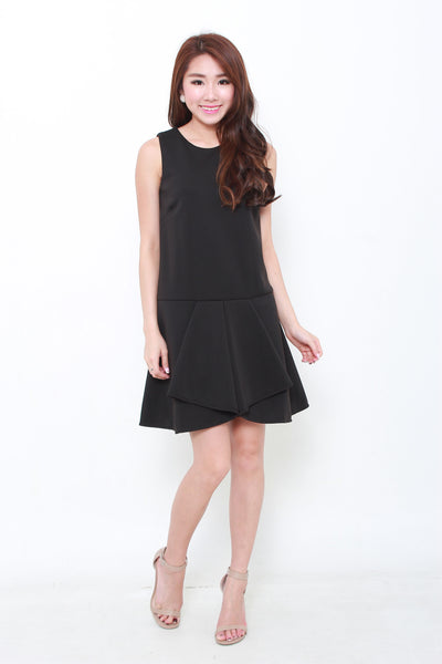 Sass Layer Drop Waist Dress in Black