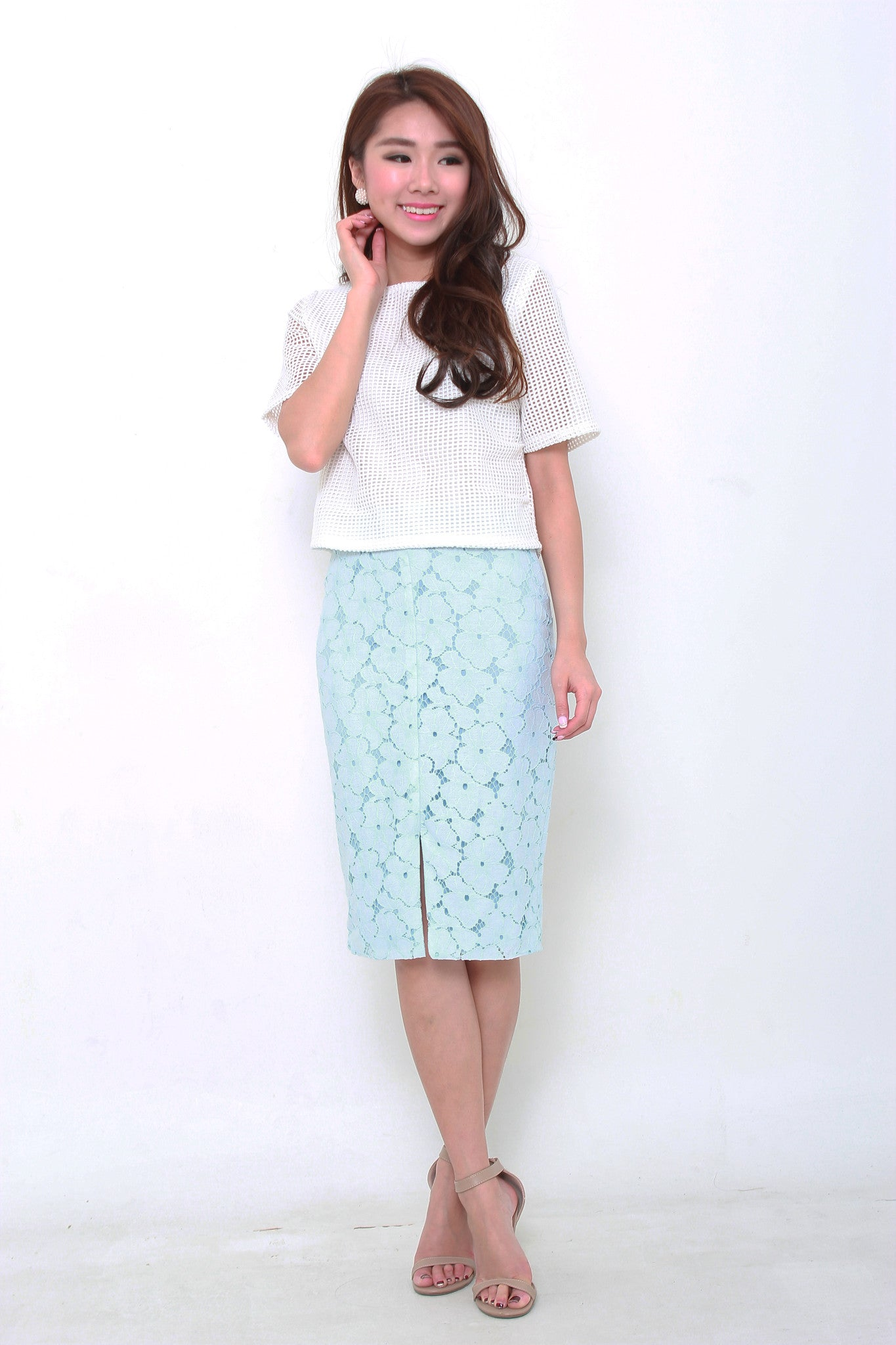 Kira Lace Pencil Slit Skirt in Light Blue