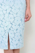 Load image into Gallery viewer, Kira Lace Pencil Slit Skirt in Light Blue