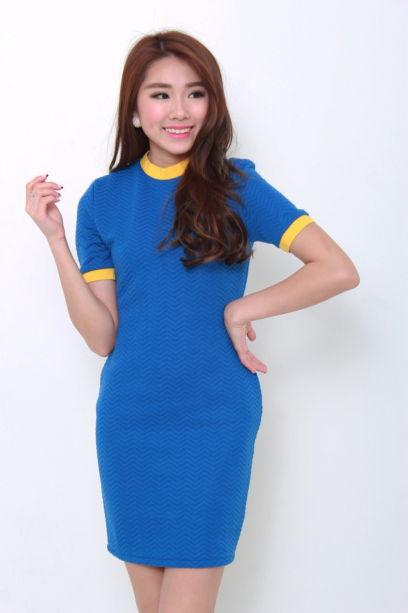 Sporty Bodycon Dress in Blue/Yellow