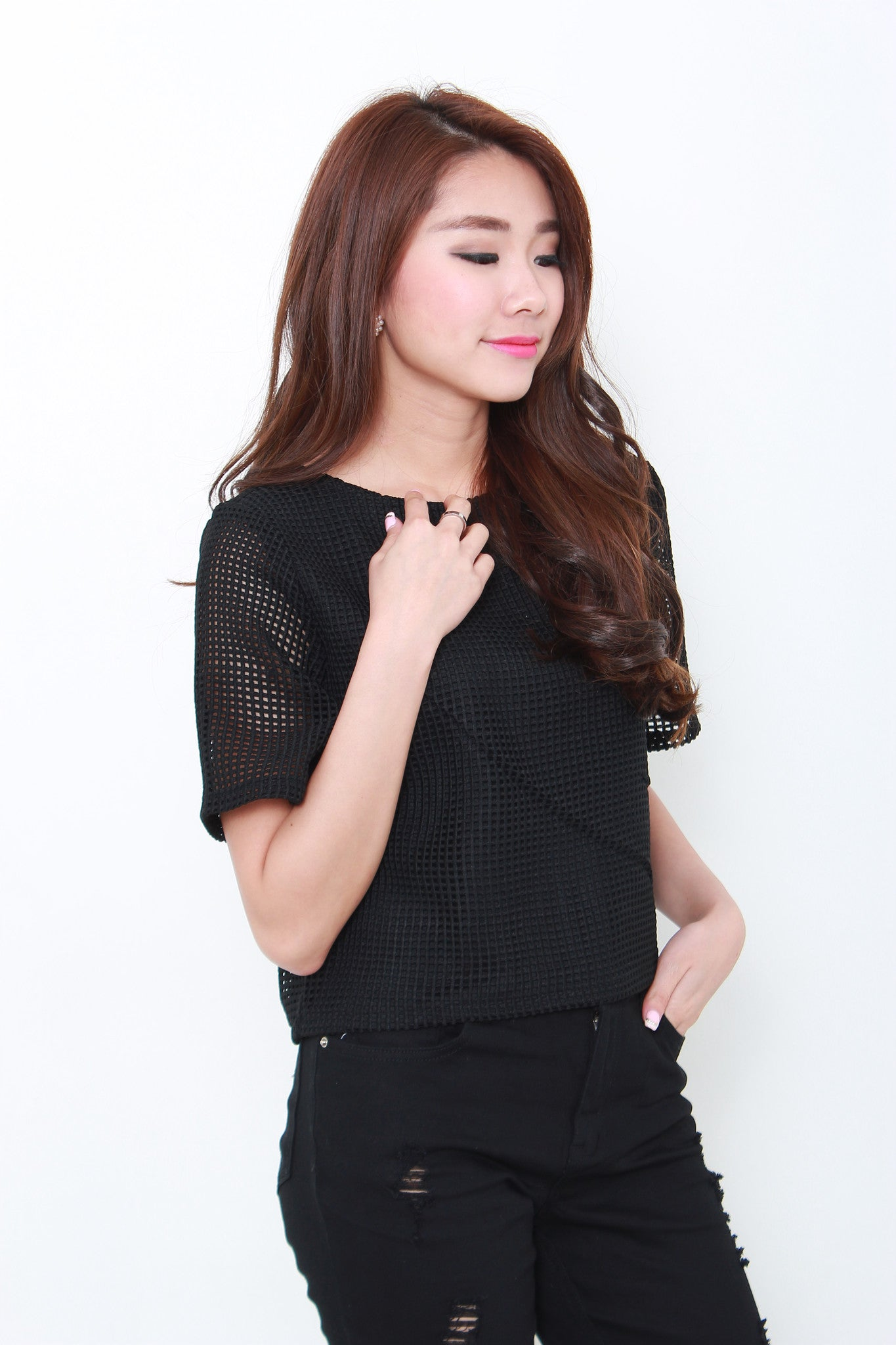 Perla Net Crochet Top in Black