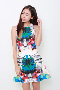Maddy Symmetrical Graphic Skater Dress