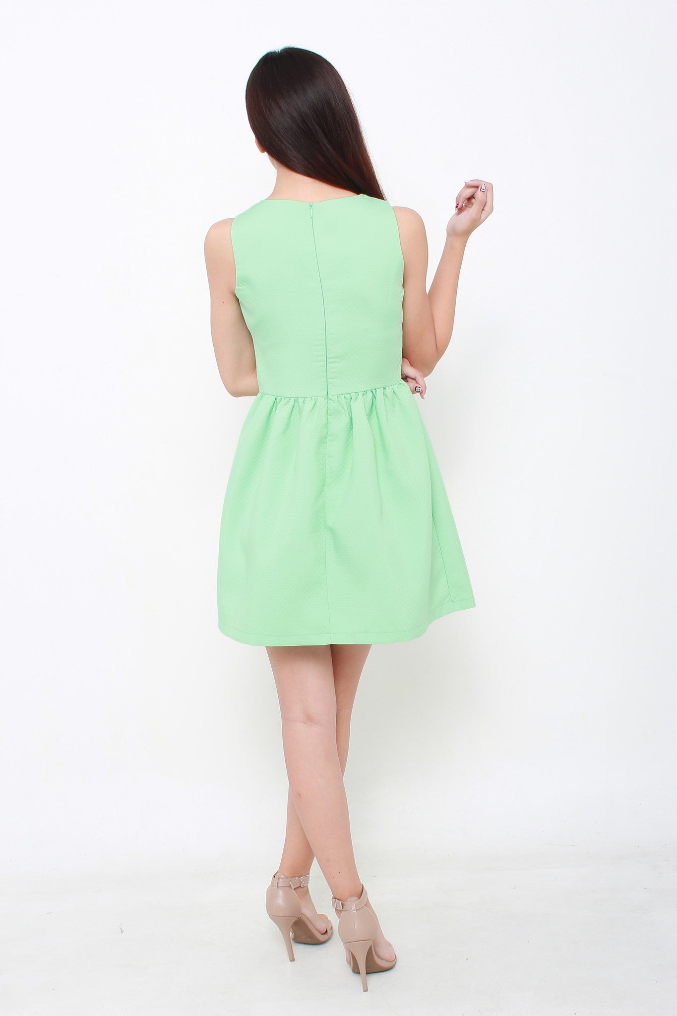 Vera Quilt Embossed Skater Dress in Mint