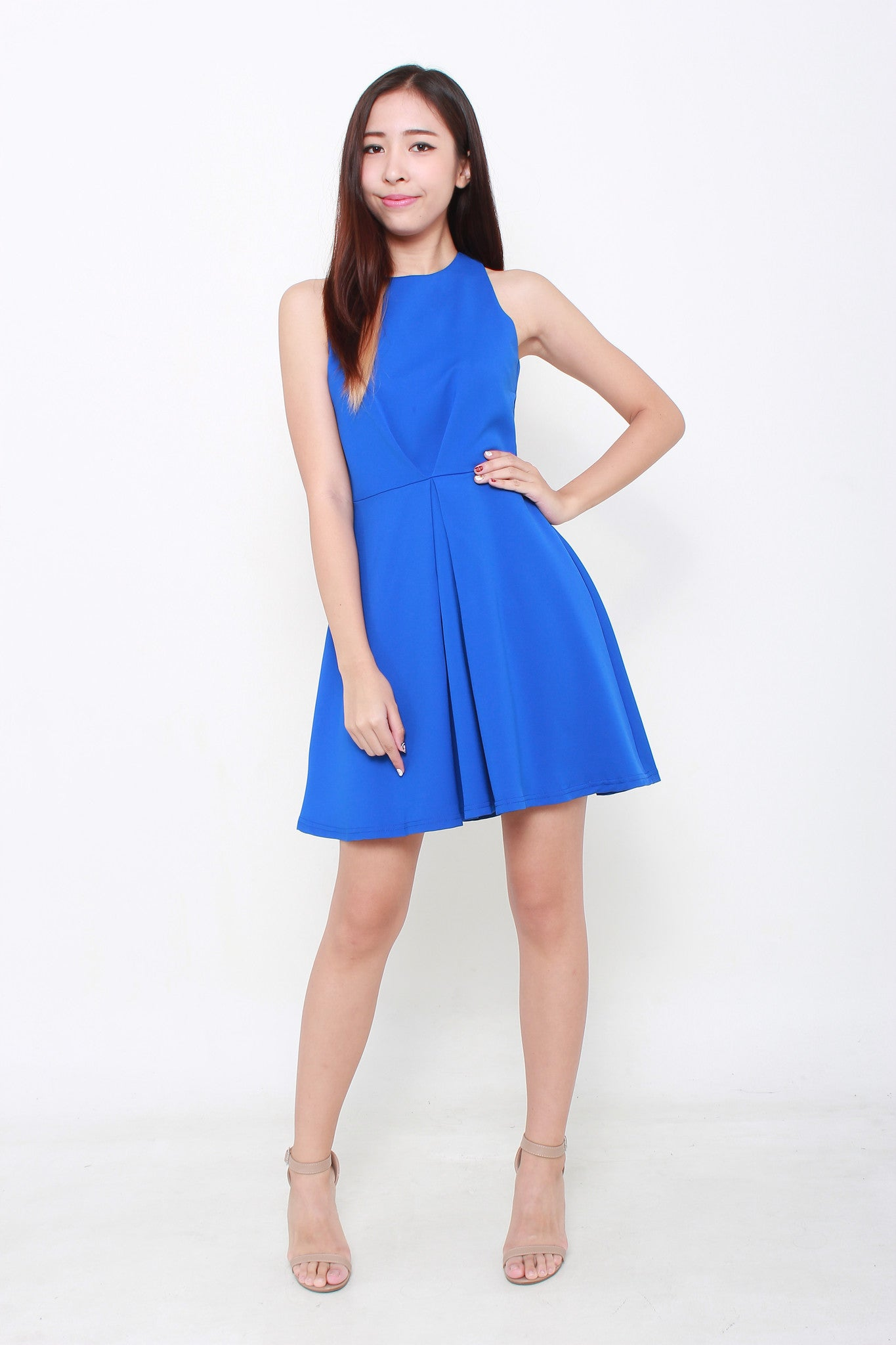 Chelsea Pleated Skater Dress in Blue