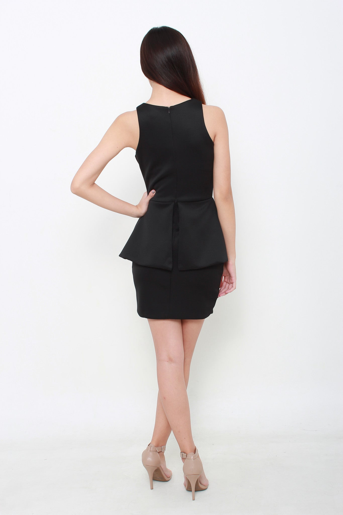 Fairle Peplum Dress in Black