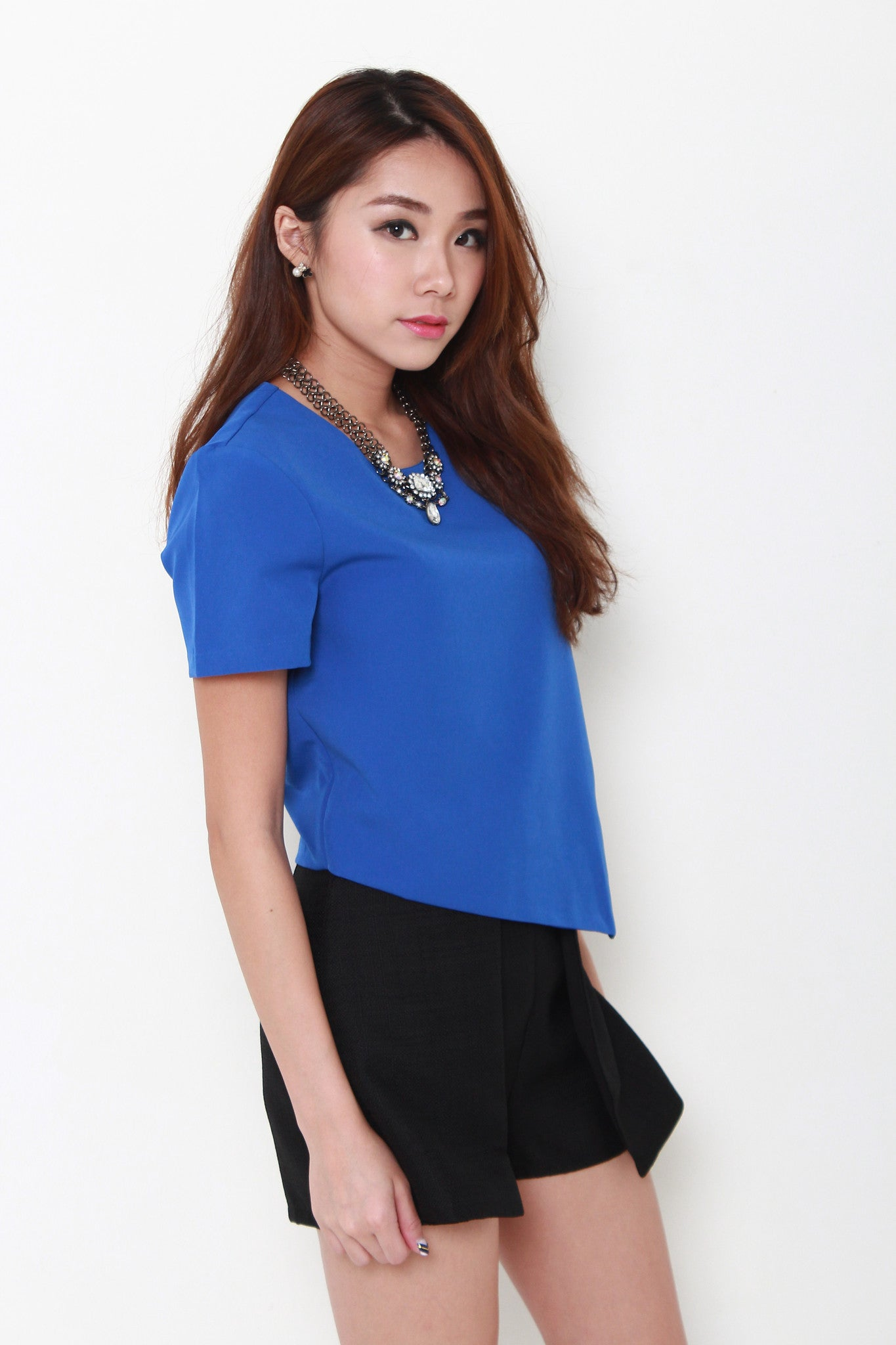 Skye Overlap Boxy Top in Blue