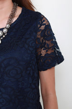 Load image into Gallery viewer, Barbie Lace Top in Navy
