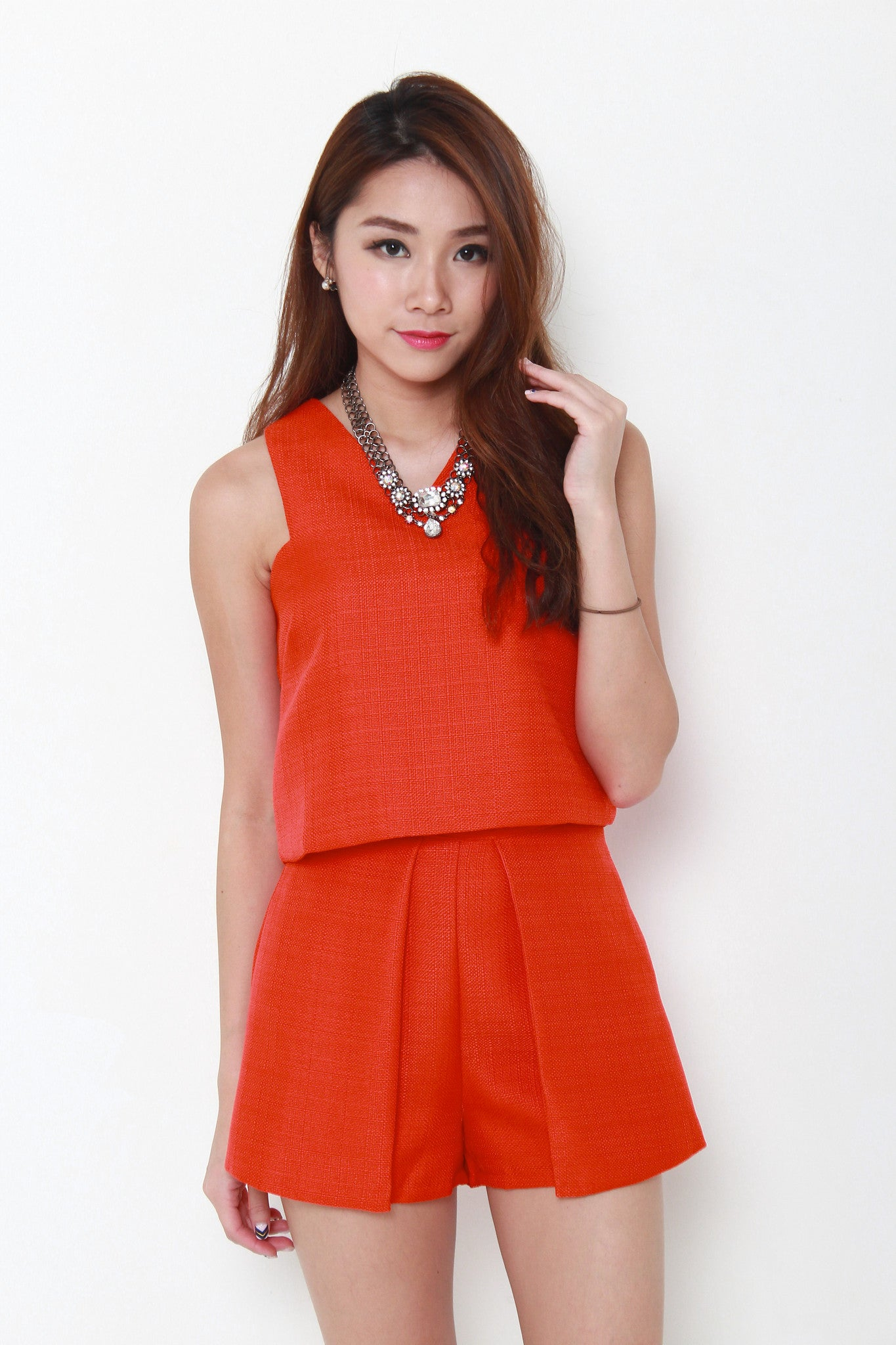 Sonia Tweed Crop Top in Orange