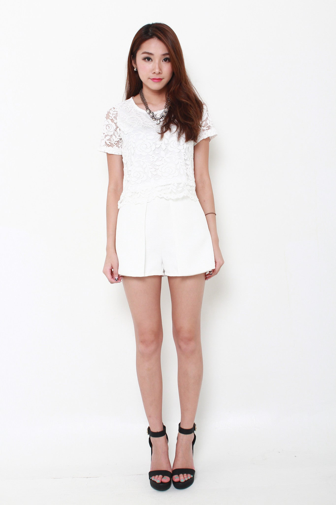 Sonia Tweed Layer Skorts in White