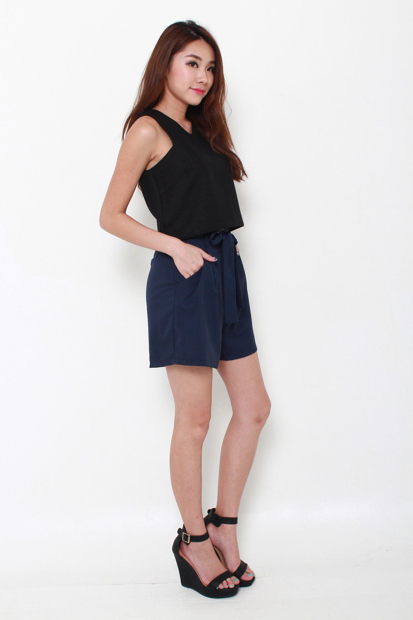 Tania Pleat Shorts in Blue