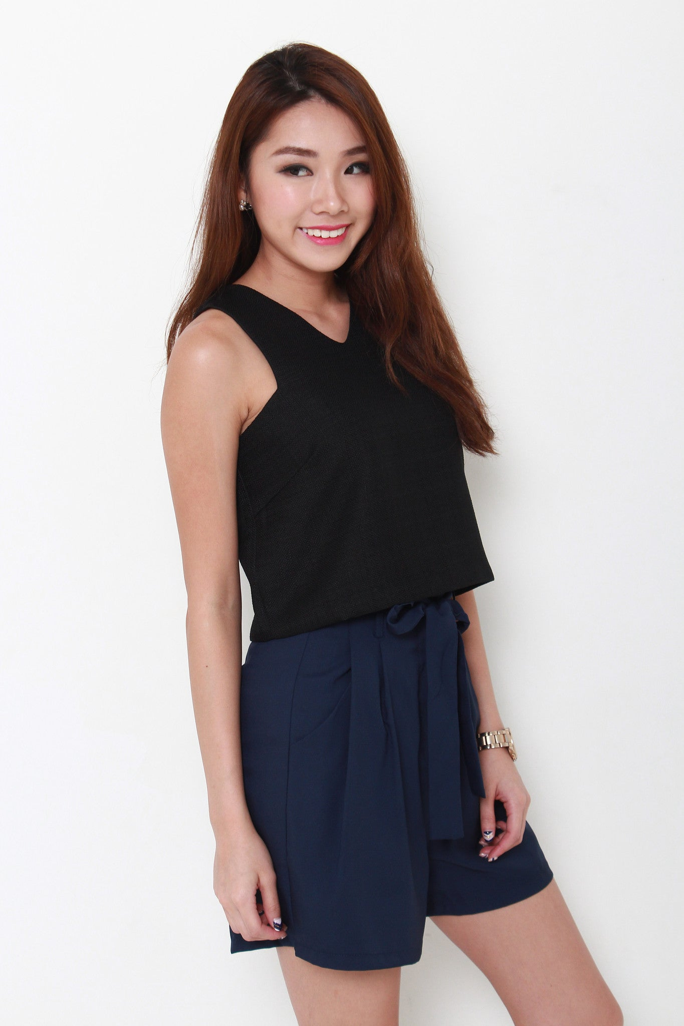 Sonia Tweed Crop Top in Black