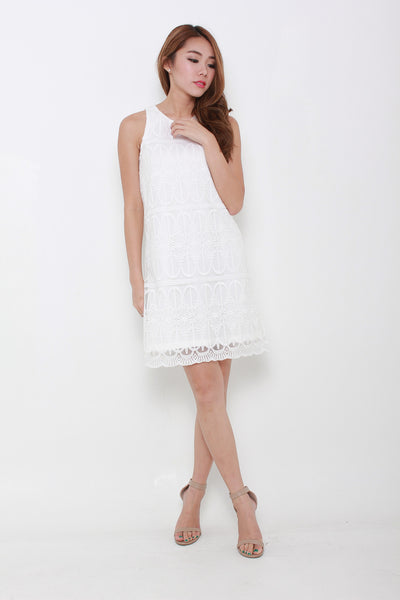 Rachelle Scallop Lace Shift Dress in White
