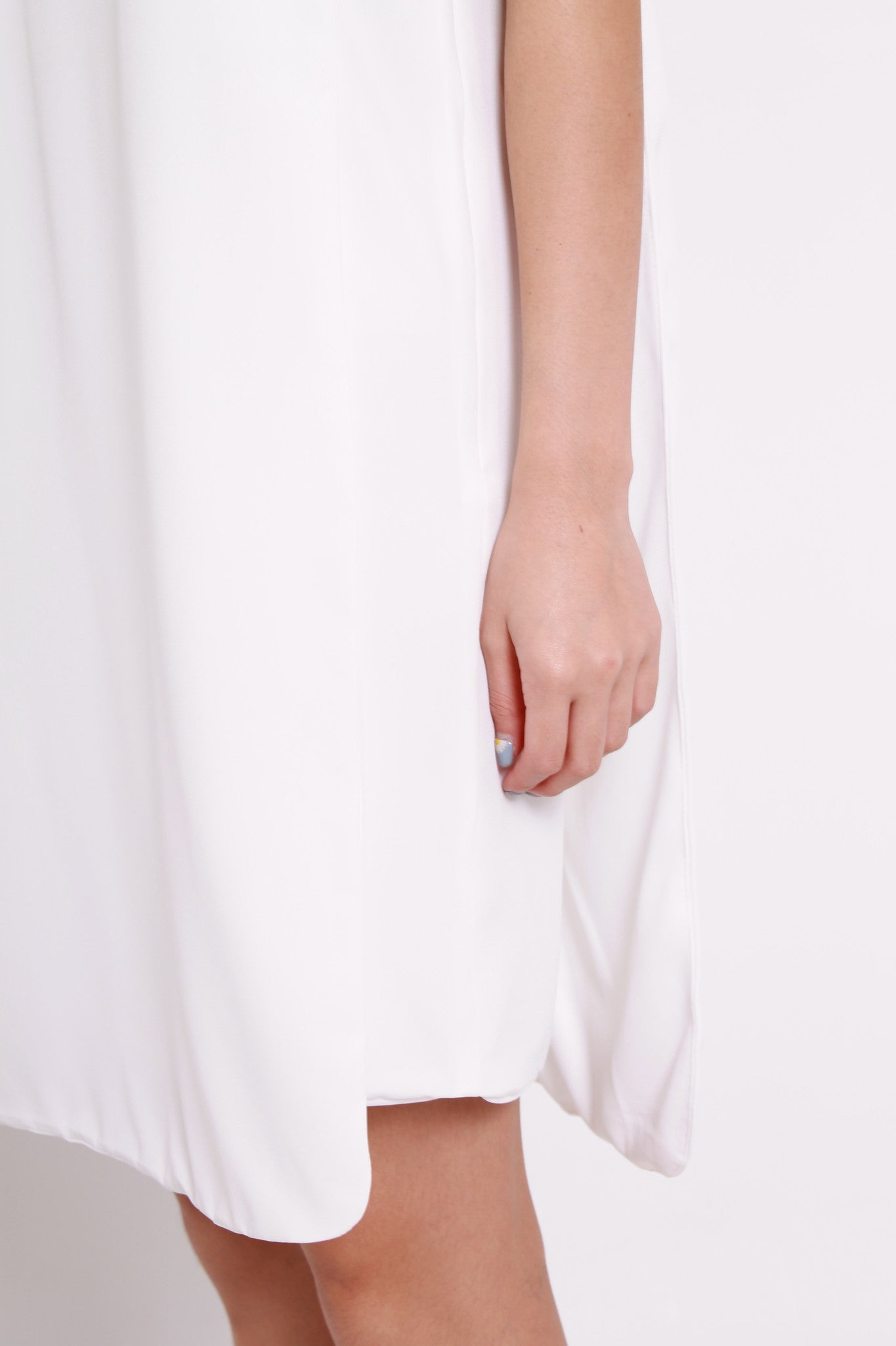 Celeste Layer Curve Hem Dress in White
