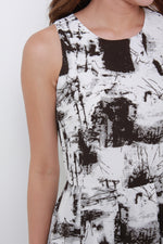 Load image into Gallery viewer, Teri Mono Abstract Train Dress in Black