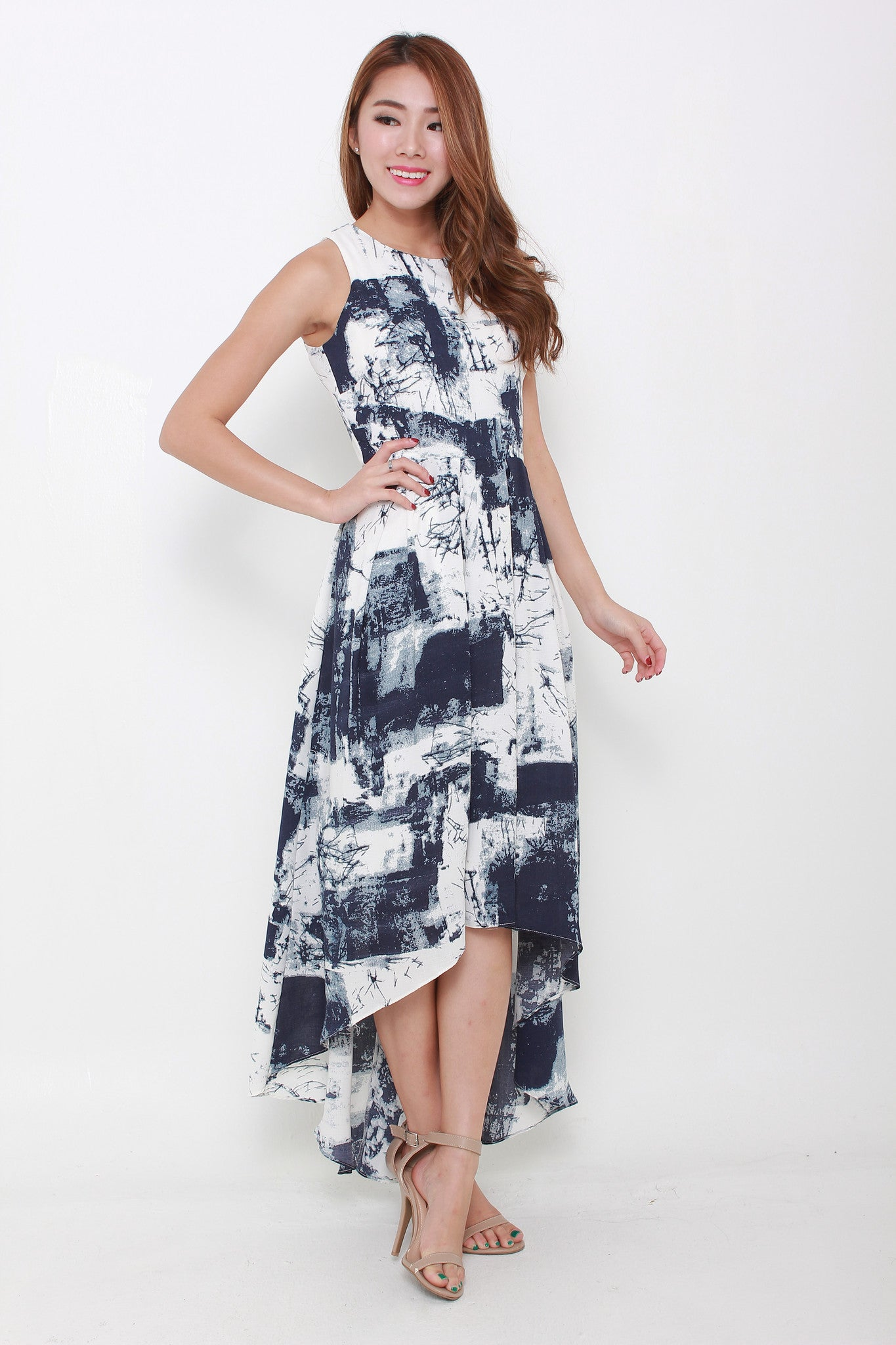 Teri Mono Abstract Train Dress in Blue