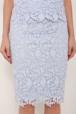 Load image into Gallery viewer, Athena Crochet Pencil Skirt in Blue