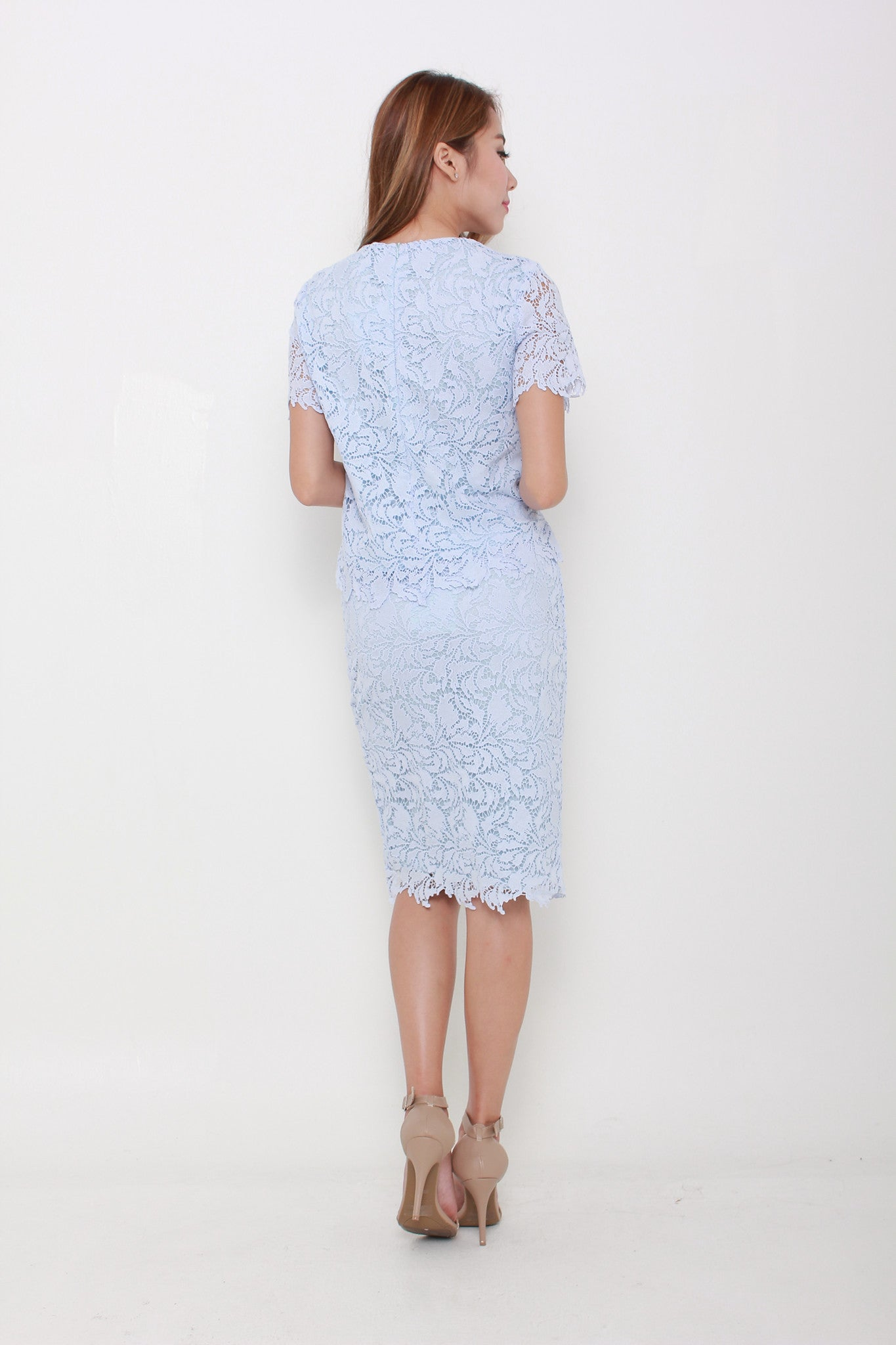 Athena Crochet Pencil Skirt in Blue