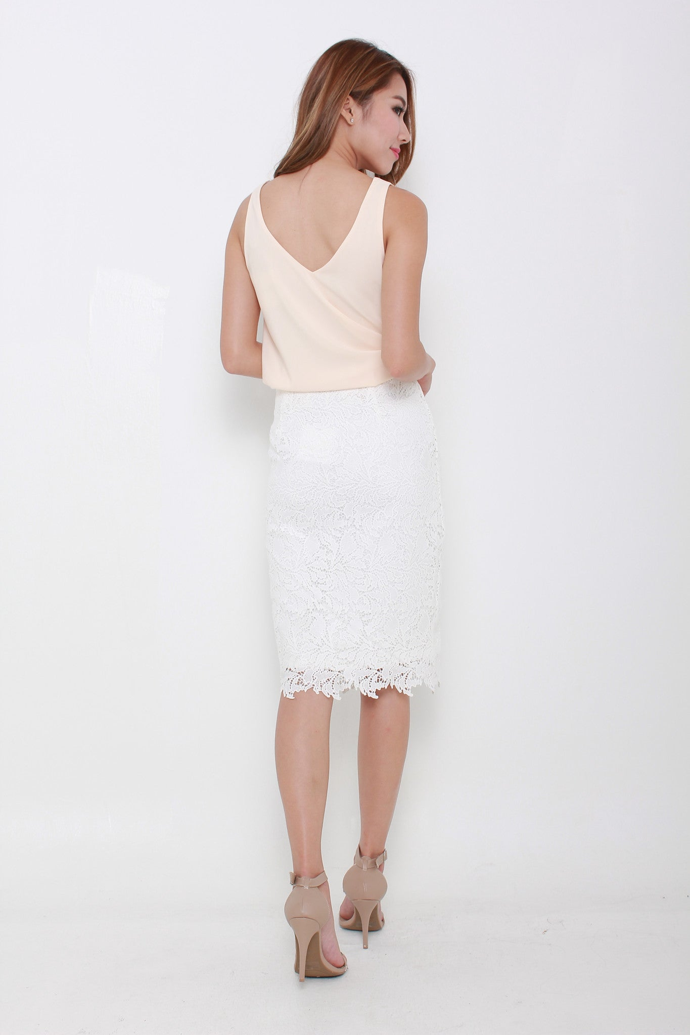 Athena Crochet Pencil Skirt in White
