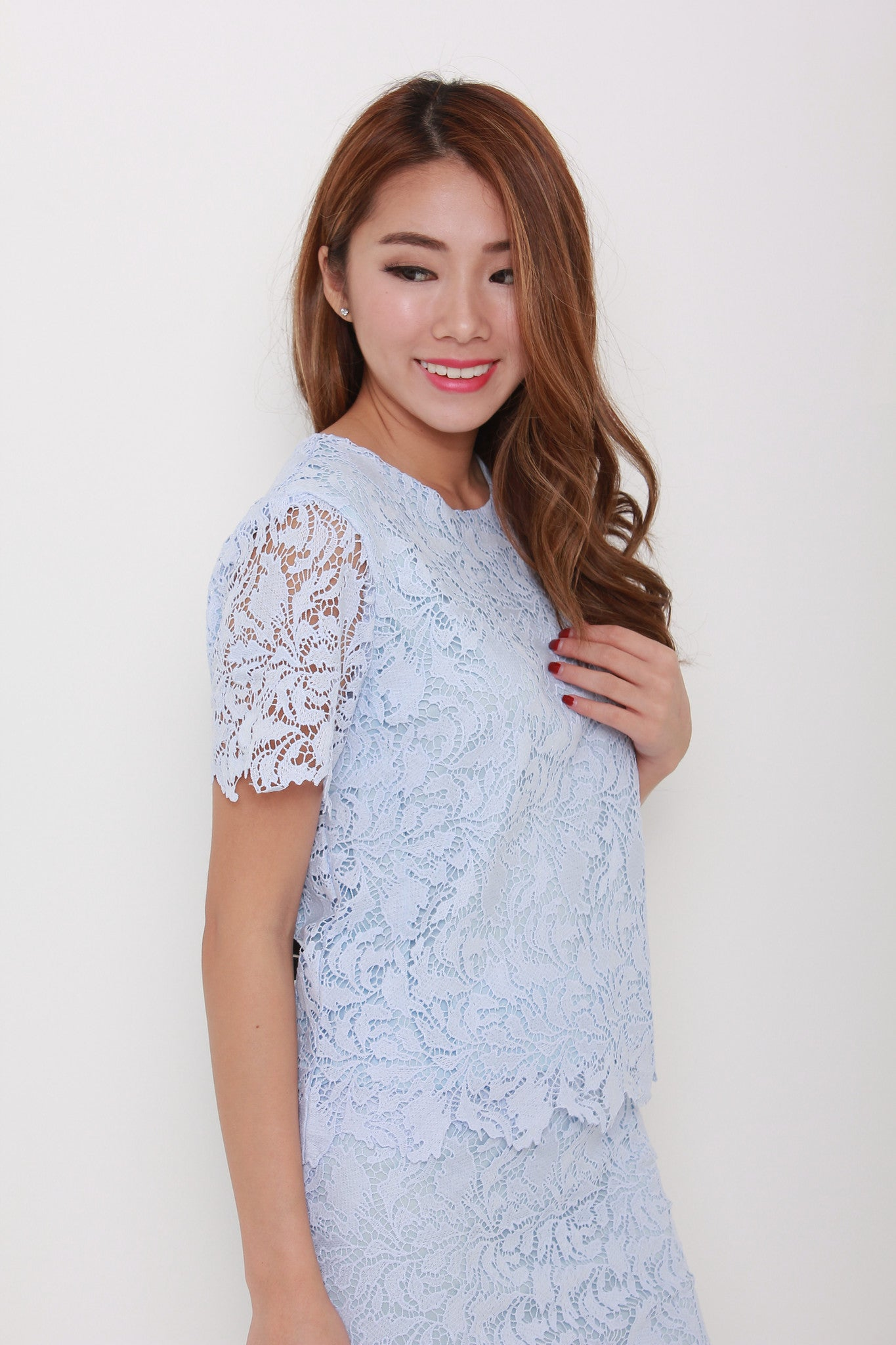 Athena Scallop Crochet Top in Blue